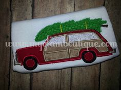 Woodie with Tree Applqiue - Station Wagon with Christmas Tree