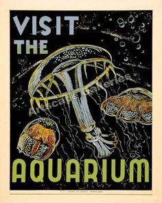 WPA era poster for the Chicago Aquarium