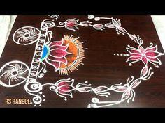 Smart Lotus Radham muggulu for Sankranthi Festival sepcial Easy Rangoli Designs Diwali, Indian Rangoli Designs, Simple Rangoli Designs Images, Rangoli Designs Latest, Rangoli Designs Flower, Free Hand Rangoli Design, Rangoli Border Designs, Rangoli Ideas, Rangoli Designs With Dots