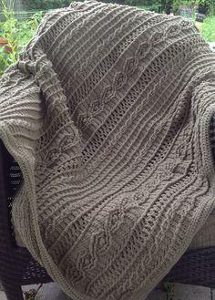 Mocha Colored Acrylic Yarn Crochet Cable Knit by DapperCatDesigns
