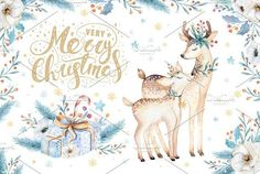Watercolor Christmas deer by Peace ART on @creativemarket