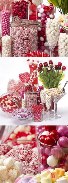 Celebrate the love in your life with this DIY Valentine's Day candy buffet! It's packed with pretty colors and eye-catching textures, like glossy pink gumballs and classic pastel conversation hearts. See more Valentine's candy at http://www.candywarehouse.com/themes/valentines-day-candy/