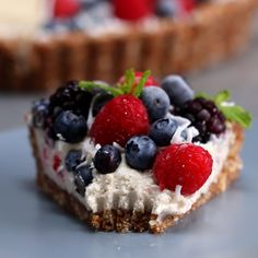 Vegan Berry Tart // #vegan #berries #blueberries #strawberries #tart #Goodful