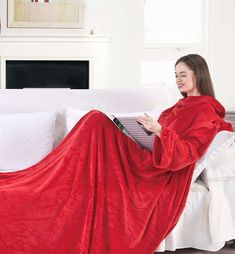 Canora Grey This cuddly blanket with sleeves is made of microfibre and polyester. Colour: Red, Size: x Gray Color, Colour, Living Room Decor, Blanket, Interior Design, Formal Dresses, Sleeves, Inspiration, Home Decor