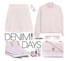 """Denim Skirts"" by marionmeyer on Polyvore featuring Mode, Valentino, Converse, Monki, Chanel, Oliver Peoples, Kendra Scott, Hermès, Winky Lux und Maybelline"