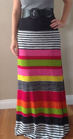 Maxi Skirt  Baby Hacci Multi Stripe by j2boutique on Etsy