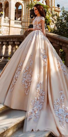 Robe De Mariage Princess Wedding Dress Luxurious Chapel Train Vestido De Novia Satin With Beading Ball Gown Wedding from AzonGal Bridal Store. Quince Dresses, Ball Dresses, Ball Gowns, Best Wedding Dresses, Bridal Dresses, Wedding Gowns, Lace Wedding, Yellow Wedding Dresses, Rustic Wedding