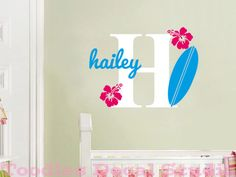 """Make it the letter """"C"""" and it's perfect for Chloe's surfer girl room...Initial Name Surf Board Hawaii Ocean Beach Girls Surfer Kids Vinyl Wall Decal Sticker via Etsy."""