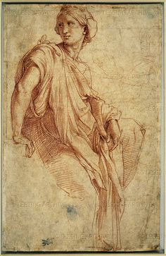 (Raffaello Sanzio) Study for the Phrygian Sibyl, 1511-1512. This drawing is a study for the Chigi chapel in Santa Maria della Pace in Rome. Over the chapel arch, Raphael painted in fresco the four Sibyls. The seated figure with classical drapery was probably painted from a male model, but the face is idealized, full of grace and beauty