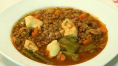 Receta fácil de lentejas con pollo y verduras