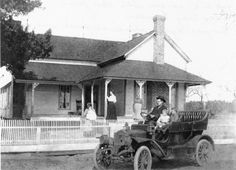 """Eugene M. Giddens at the famly home in Milltown. Larue and W. K. in car with their father Eugene. """"Nurse"""" hold baby Chandler. Eu..."""