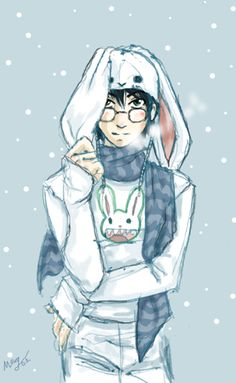 Bunny Harry by ~foxfur on deviantART^^^^^HE'S SO CUTE!!! I BET DRACO JUST WONT LET HIM GET OUT OF BED LOOKING LIKE THAT