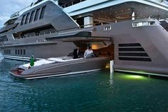 Luxury Yacht..I totally want a yacht with a garage for a speed boat on the side.
