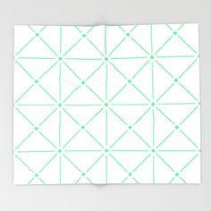Adorned Trellis - Green/White Throw Blanket