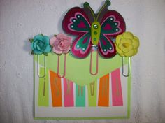 Set Of 4 Handmade Paperclip Page Markers (Planner Decorations) Butterfly and Flowers via ASprinkleOfLovely on Etsy