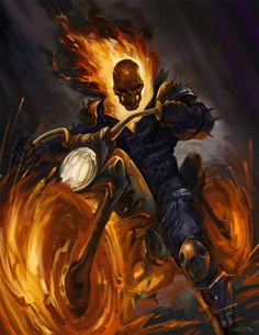 Ghost Rider — By Biggie Frank of Hangzhou, China Marvel Comic Character, Comic Book Characters, Marvel Characters, Comic Books Art, Comic Art, Ghost Rider 2007, Ghost Rider Marvel, Marvel Dc, Marvel Heroes