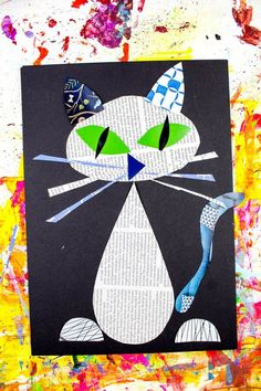 Arty crafty kids art cool cat newspaper art for kids a fun recycled cat art Art Activities For Kids, Easy Crafts For Kids, Projects For Kids, Diy For Kids, Decoupage Ideas For Kids, Ideas Collage, Recycled Crafts Kids, Animal Art Projects, Animal Crafts