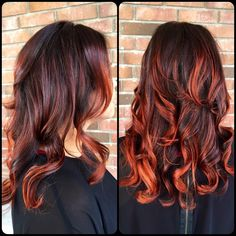 Bright copper/red balayage. @sarahgossetthair