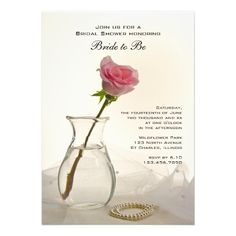 Invite your friends and family to a pre wedding party honoring the bride to be with the pretty #Pink #Rose and Pearls Bridal Shower #Invitation . This elegant custom botanical Bridal Shower Invite features a floral photograph of one single pink rose flower blossom in a glass vase with a white pearl necklace and bridal veil. Perfect for a classy pink flowery or rose wedding shower theme. #bridalshower #bridalshowerinvitations #invitations