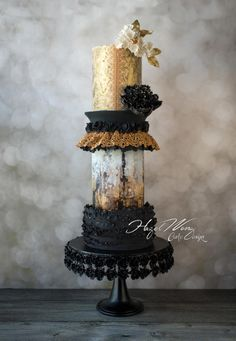 This cake was made for a Non-Traditional wedding cake theme for American Cake Decorating Magazine! I am super excited on how this cake turns out to be kind of above my expectation! By far, this has to be my tallest tier cake for now… is a. Beautiful Wedding Cakes, Gorgeous Cakes, Amazing Cakes, Unique Cakes, Elegant Cakes, Creative Cakes, Modern Cakes, Fancy Cakes, Cute Cakes