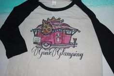 """See you later I've gone Glamping.. Here is an awesome designer jersey style shirt. The front says """"Gone Glamping"""". This shirt comes with black sleeves and a adorable Pink Camper with a touch of """"bling"""