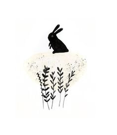 Rabbit illustration art print via Etsy