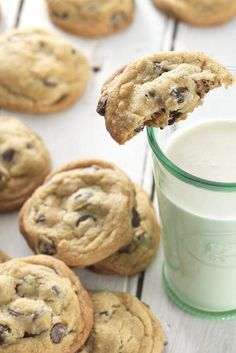 Truth be told: Tollhouse scoots over, pouting, when these chocolate chip cookies get served up. Halve the recipe. it is STILL the best! Flour Recipes, Cookie Recipes, Dessert Recipes, Candy Recipes, Brownies, Perfect Chocolate Chip Cookies, Galletas Cookies, Cake Cookies, King Arthur Flour