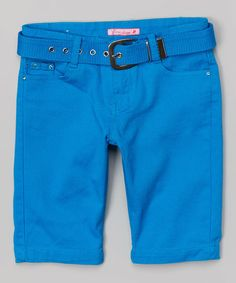 Look what I found on #zulily! Turquoise Bermuda Shorts & Belt #zulilyfinds