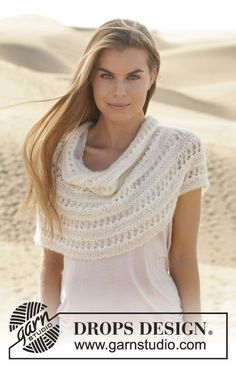Let's fall in love with this neck warmer in garter st and #lace pattern by #DROPSDesign #ss2014