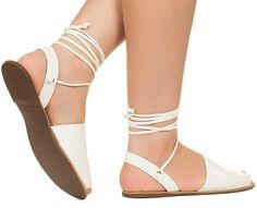 Rasteira avarca branca com amarração Taquilla - Taquilla - Loja online de sapatos femininos