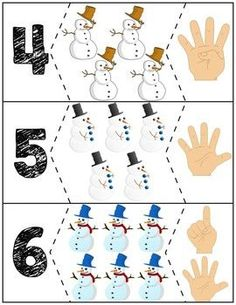 Teach counting skills with these snowmen! Great for teaching counting skills and number recognition for Quick prep and great for math centers! Preschool Math Games, Numbers Preschool, Autism Activities, Kindergarten Math, Winter Activities For Toddlers, Toddler Activities, Life Skills Lessons, Sudoku, Math For Kids