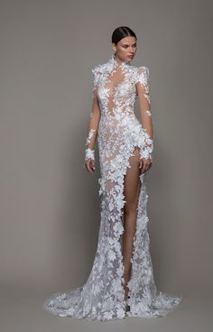 With millions of fans worldwide, Pnina Tornai has established herself as a renowned top couture fashion designer. Her line varies from classic princess-like ball gowns to bold show stopping fashion forward couture creations. Slit Wedding Dress, Sexy Wedding Dresses, Bridal Dresses, Bridesmaid Dresses, Formal Dresses, Gown Wedding, Lace Wedding, Wedding Venues, Dream Wedding