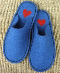 Blue Wool Felt Slipper with Red Needle Felted Heart