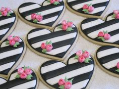 Striped Heart Cookies with Roses Wedding Bridal by MartaIngros
