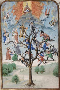 Koninklijke Bibliotheek van België, Brussel - Honoré Bovet - Strijd van de verschillende standen van de maatschappij in een symbolische boom