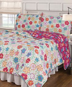 Another great find on #zulily! Multicolor Flower Quilt Set #zulilyfinds