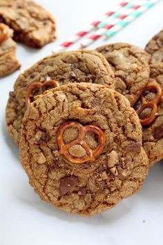 These are AMAZING!!! Brown Butter Salted Pretzel and Toffee Peanut Butter Cup Stuffed Cookies - a must make!
