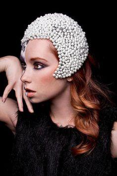 White Headpiece Wedding Bridal Avant Garde Beaded Cap Cloche for Sale ...