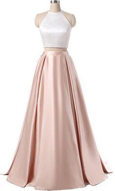 Elegant satins two pieces halter simple long dress #prom #promdress #dress #eveningdress #evening #fashion #love #shopping #art #dress #women #mermaid #SEXY #SexyGirl #PromDresses