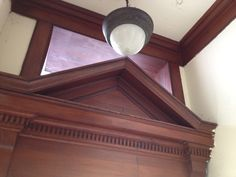 More elegant features on the inside of this gem, including original oak woodwork and fixtures. Bellefontaine Ohio, Gem, Woodworking, Ceiling Lights, The Originals, Elegant, Building, Home Decor, Classy