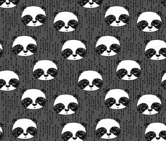 Panda Face - Charcoal/White/Blcak fabric by andrea_lauren on Spoonflower - custom fabric