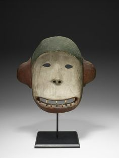 Yup'ik Bear mask, Artist Unknown, Mask, 19th century, Wood (probably spruce), pigments, string11 3/16 x 11 1/2 x 3 1/8 in My comment: They say this is a bear-to me it looks like a monkey. You be the judge.
