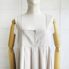 Linen-Cotton Blend Square Neck Sleeveless Dresses Natural Color-www.tanbagshop.com