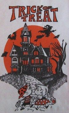 Vintage Trick or Treat Bag - My Mom always had a trail of neighborhood kids following her as she led us trick or treating on Halloween.  All the kids wanted to go with her, because she took us far and wide, and ensured that everyone got a huge haul of candy.  She did the same thing for her grandkids. RW