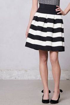 Scalloped Stripes Ponte Skirt