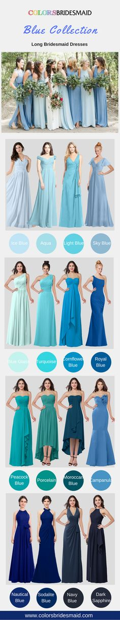These long bridesmaid dresses with various styles in blue collection (including ice blue, aqua,light blue, sky blue, blue glass, turquoise, cornflower blue, royal blue,peacock blue,prcelain,moroccan blue,campanula,nautical blue, solidate blue, navy blue and dark blue) can satisfy your requirements greatly. They are mostly sold under $100. These cheap bridesmaid dresses will make you on a budget. All sizes are custom made!