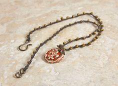 Crochet beaded necklace, Fleur de lis, red pendant, bohemian necklace, dainty jewelry, rustic necklace, boho chic, red necklace, bead jewel