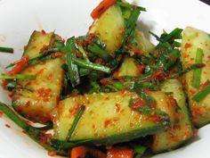 AUTHENTIC KOREAN RECIPES | Authentic Korean Cucumber Kimchi Recipe Korean Cucumber, Cucumber Kimchi, Korean Recipes, Vegetarian Recipes, Cooking Recipes, Healthy Recipes, Korean Dishes, Korean Food, Korean Kimchi