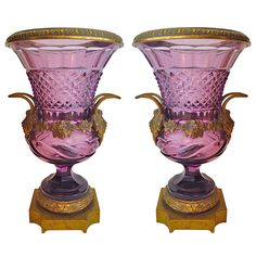 Rare large amethyst brilliant cut glass urn vases with gilt bronze mounts by Baccarat, France c. 1870