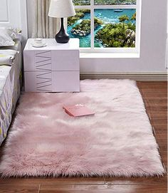 Luxury Plush Faux Fur Rugs For Bedroom Artificial Wool Soft Fluffy White Fur Rug For Living Room Bedroom Couch Area Floor Rugs – Area Rugs in bedroom Room Ideas Bedroom, Living Room Bedroom, Rugs In Living Room, Bedroom Decor, Bedroom Balcony, Bedroom Mats, Bedroom Couch, Pink Carpet, Carpet Colors